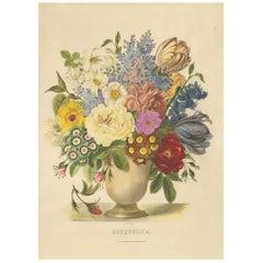 Antique Print of a Flower Bouquet by Villain, circa 1850