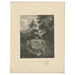 Antique Print of a Forest Scene by Payne 'c.1860'