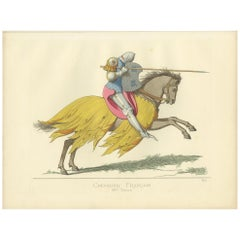 Antique Print of a French Knight, 14th Century, by Bonnard, 1860