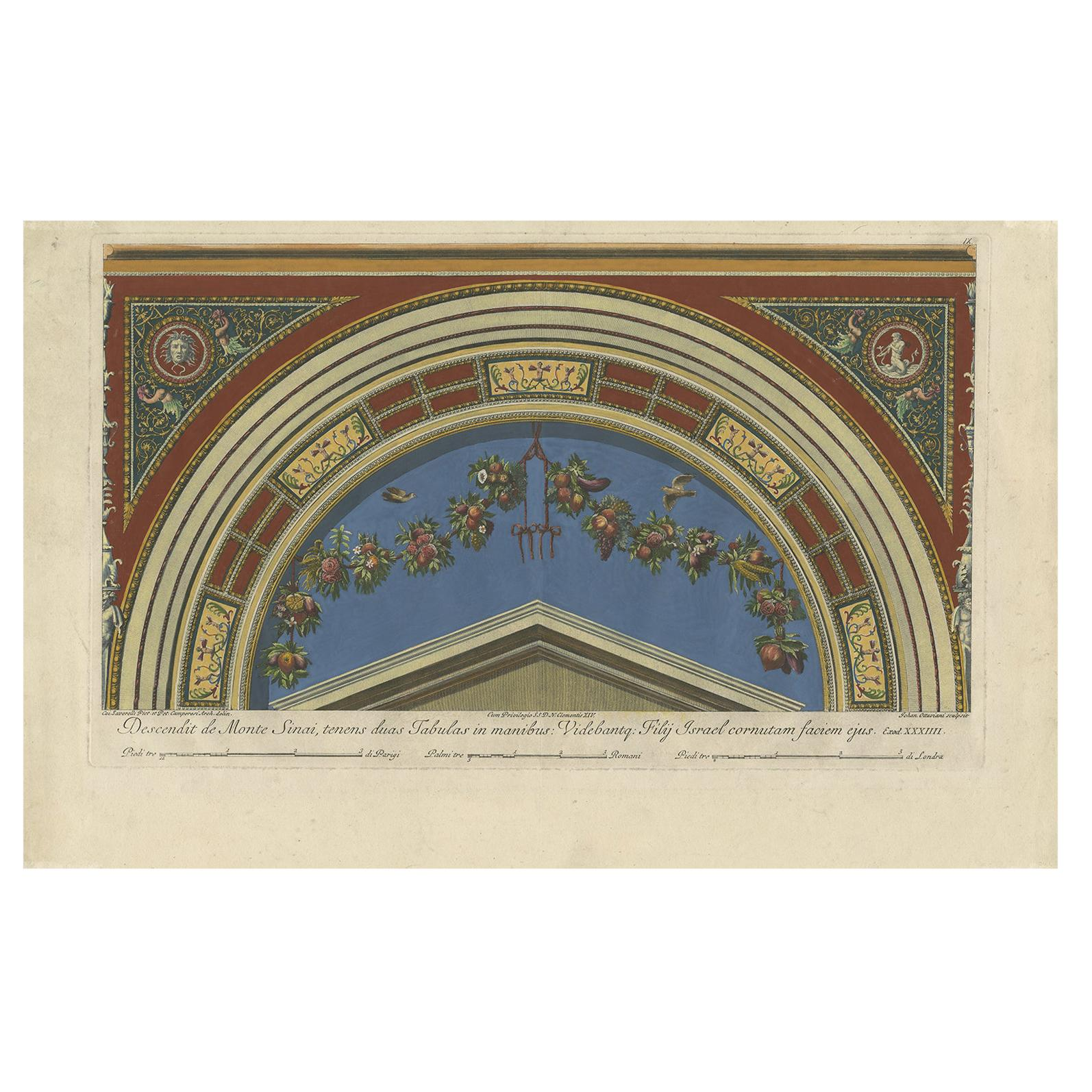 Antique Print of a Fresco in the Vatican by Ottaviani, circa 1775