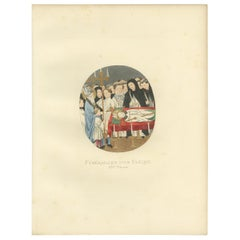 Antique Print of a Funeral of an Italian Bishop, 14th Century, by Bonnard, 1860