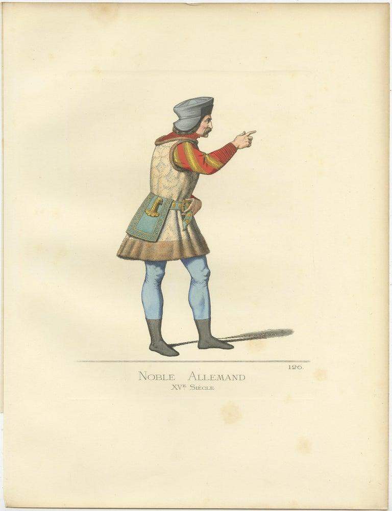 Antique print titled 'Noble Allemand, XVe Siecle.' Original antique print of a German nobleman, 15th century. This print originates from 'Costumes historiques de femmes du XIII, XIV et XV siècle' by C. Bonnard. Published, 1860.