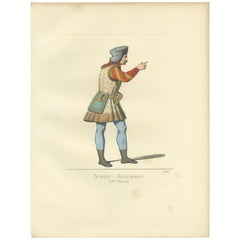Antique Print of a German Nobleman, 15th Century, by Bonnard, 1860