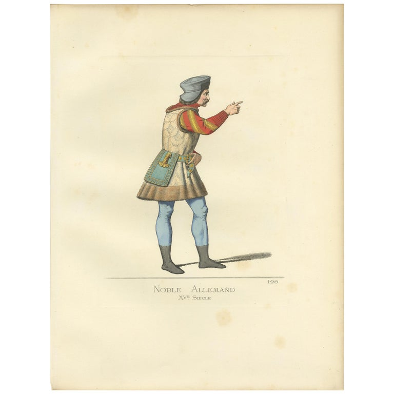 Antique Print of a German Nobleman, 15th Century, by Bonnard, 1860 For Sale
