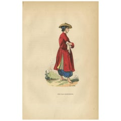 Antique Print of a Girl of Cochinchina by Wahlen, '1843'