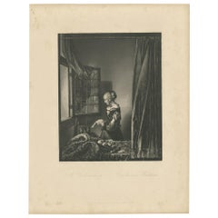 Antique Print of a Girl Reading by Payne, 'c.1860'