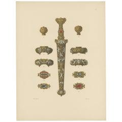 Antique Print of a Gold Dagger by Hefner-Alteneck '1890'