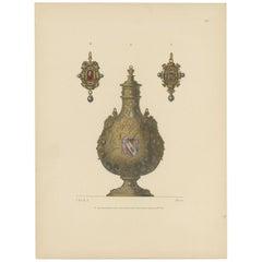 Antique Print of a Gold Flask by Hefner-Alteneck '1890'