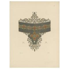Antique Print of a Gold Necklace by Hefner-Alteneck '1890'