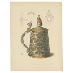 Antique Print of a Gold Pitcher by Hefner-Alteneck, '1890'