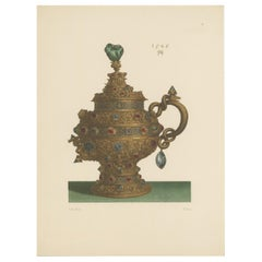 Antique Print of a Gold Pokal with Lid and Handle by Hefner-Alteneck, 1890