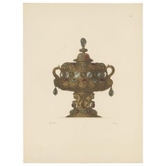 Antique Print of a Gold Vessel with Lid by Hefner-Alteneck, '1890'