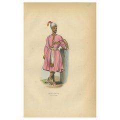 Antique Print of a Groom in Kolkata by Wahlen '1843'