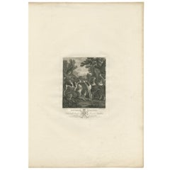Antique Print of a Group of Hounds Looking Up at a Magpie by Boydell '1775'