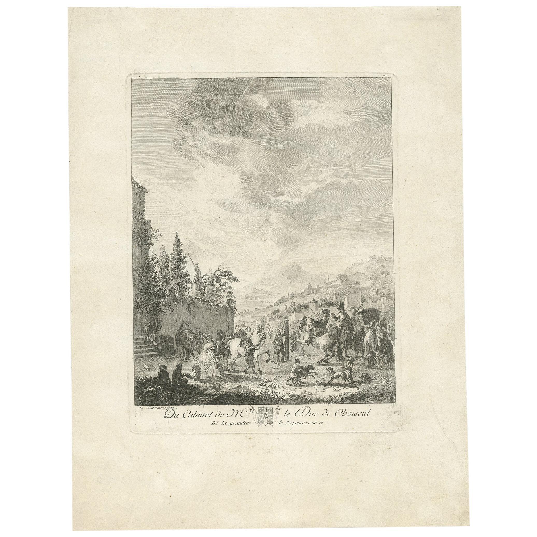 Antique Print of a Horse Fair Made after Wouwerman, 'circa 1780'