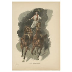 Antique Print of a Hungarian Csikós Rider, 'circa 1900'