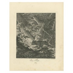 Antique Print of a Hunting Dog in the Forest by Ridinger 'c.1760'