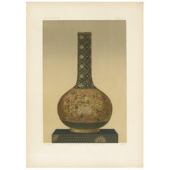 Antique Print of a Japanese Bottle by G. Audsley, 1884