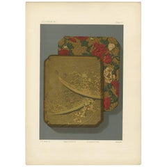 Antique Print of a Japanese Box III 'Lacquer' by G. Audsley, 1882