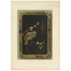Antique Print of a Japanese Box 'Lacquer' by G. Audsley, 1882