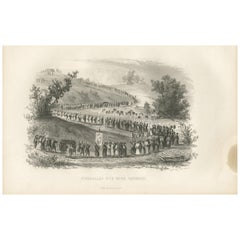 Antique Print of a Japanese Funeral by D'Urville, 1853