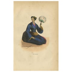 Antique Print of a Japanese Lady by Wahlen '1843'