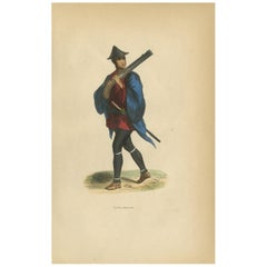 Antique Print of a Japanese Soldier Carrying a Weapon by Wahlen, 1843