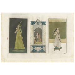 Antique Print of a Kannur Princess and Indian Ladies by Ferrario, '1831'