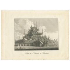 Antique Print of a Kioum or Buddhist Monastery in Burma by Symes '1800'