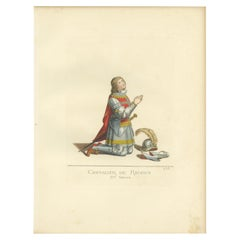 Antique Print of a Knight of Rhodes in Military Costume, by Bonnard, 1860