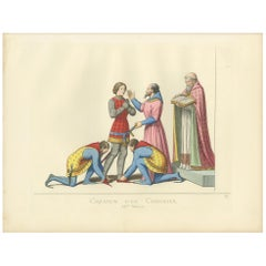 Antique Print of a Knighting Ceremony by Bonnard, 1860