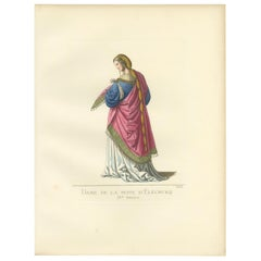 Antique Print of a Lady of Eleanor's Court, 15th Century, by Bonnard, 1860