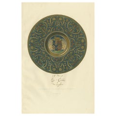 Antique Print of a Majolica Plate of the Tordelli Collection by Delange '1869'