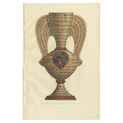 Antique Print of a Majolica Vase by Delange '1869'
