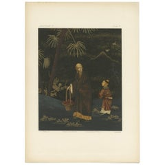 Antique Print of a Man and Boy 'Japan, Lacquer' by G. Audsley, 1882
