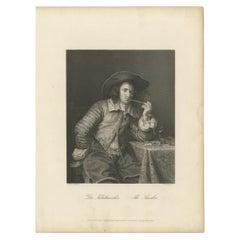 Antique Print of a Man smoking Tobacco by Payne 'c.1850'