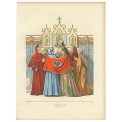 Antique Print of a Mariage Ceremony in Italy by Bonnard, 1860