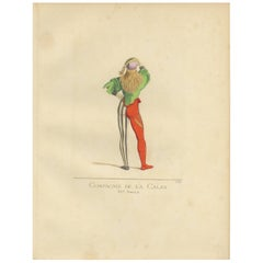 Antique Print of a Member of the Calza Society, 15th Century, by Bonnard, 1860