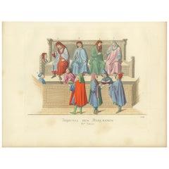 Antique Print of a Merchant Tribunal, Italy, 15th Century, by Bonnard, 1860