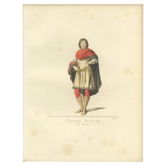 Antique Print of a Military Costume, 15th Century by Bonnard, 1860