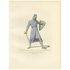 Antique Print of a Military Costume by Bonnard, 1860
