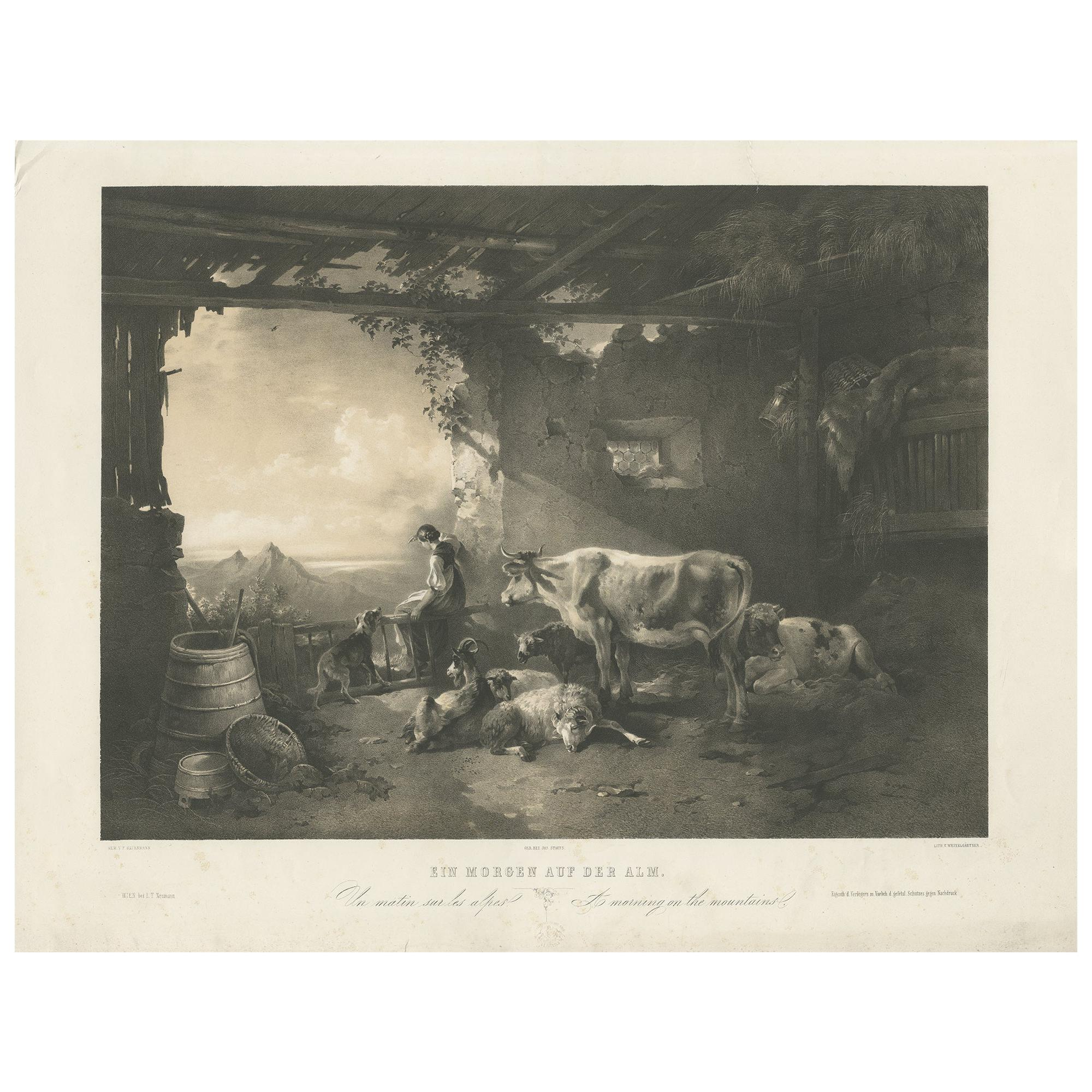 Antique Print of a Morning on the Mountains by Weixelgartner 'c.1860'