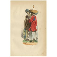 Antique Print of a Native and Soldier of Cochinchina by Wahlen, '1843'