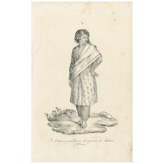 Antique Print of a Native of Timor Island 'circa 1840'