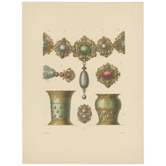 Antique Print of a Necklace and Goblets by Hefner-Alteneck '1890'