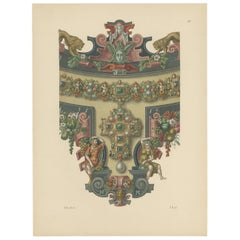 Antique Print of a Necklace with Decorative Elements by Hefner-Alteneck '1890'