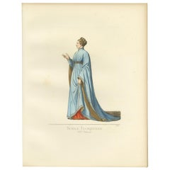 Antique Print of a Noblewoman from Florence, 14th Century, by Bonnard, 1860