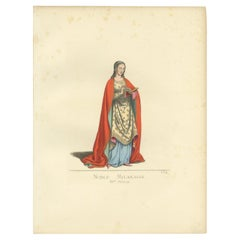 Antique Print of a Noblewoman from Milan in Italy, by Bonnard, 1860
