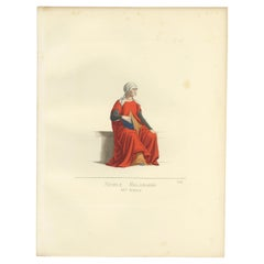 Antique Print of a Noblewoman from Milan, Italy by Bonnard, 1860