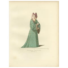Antique Print of a Noblewoman from Siena, Italy, by Bonnard, 1860